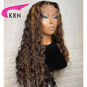 Image 3 - Highlight 1B #30 Lace Front Human Hair Wigs With Baby Hair Kinky Curly 8 26inch 13X6 Lace Wig Only Middle Part For Women