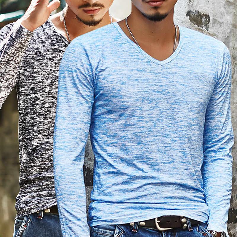 2019 뉴 트렌디 남성 T 셔츠 캐주얼 긴 소매 슬림 남성 기본 탑스 티셔츠 여름 스트레치 티셔츠 남성 의류 Chemise Homme