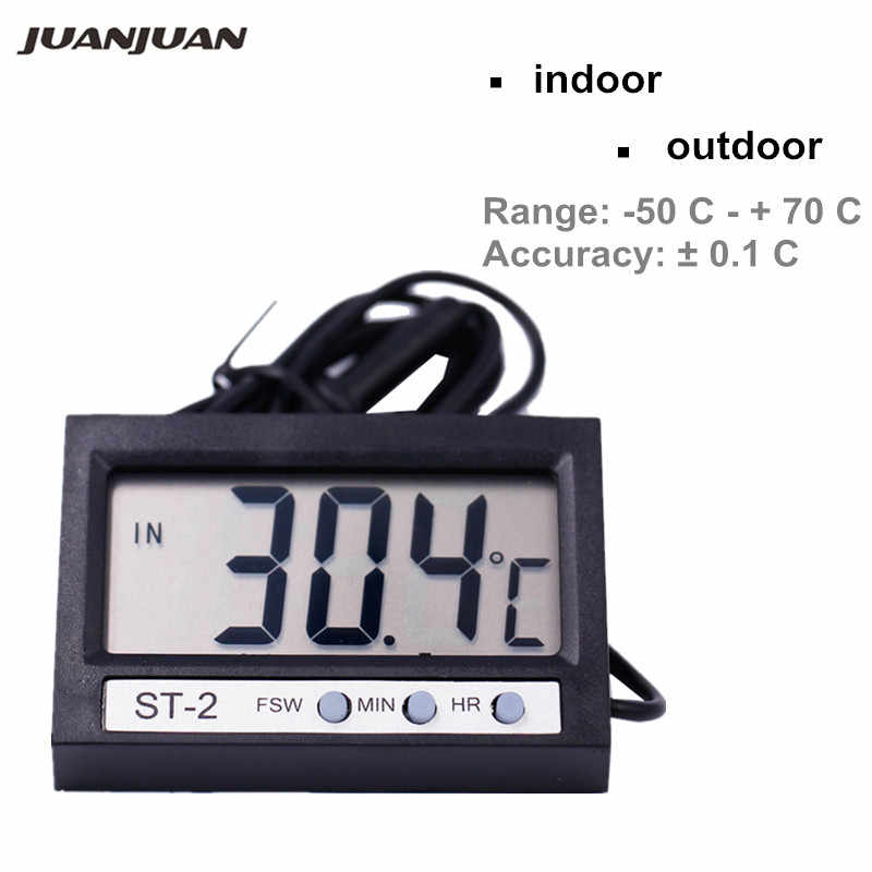 Ultra slim shell Digital LCD indoor outdoor thermometer clock temperature meter big display temp tools