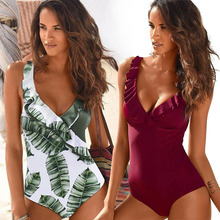 2019 New Vintage One Piece Swimsuit Women Swimwear Push Up Bathing Suit Ruffle Monokini Beach Wear Retro Swim Suit Female Beach цены