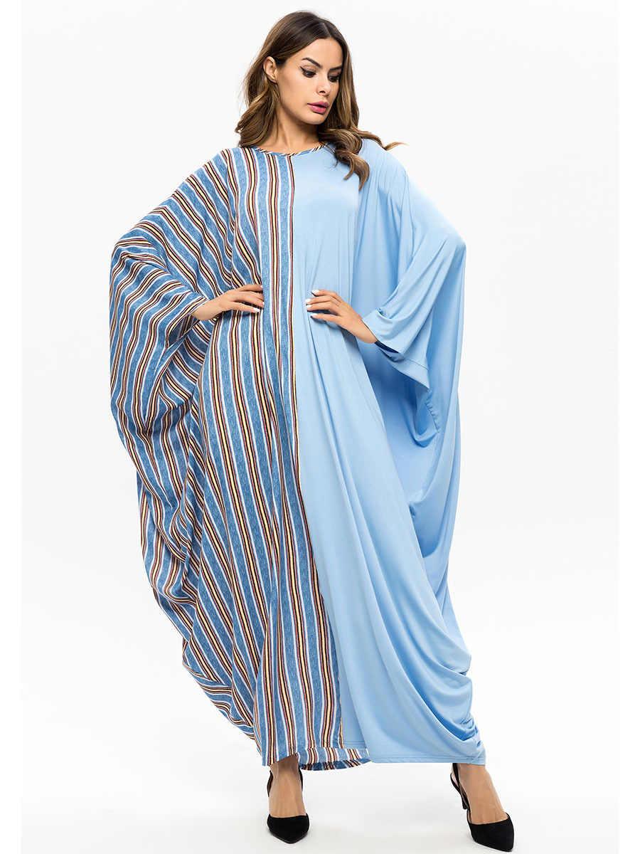 Yarasa kollu türkiye müslüman Abaya Elbise kadınlar çizgili gevşek Jilbab Jubah Elbise İslam arap fas Kaftan Maxi başörtüsü Vestidos