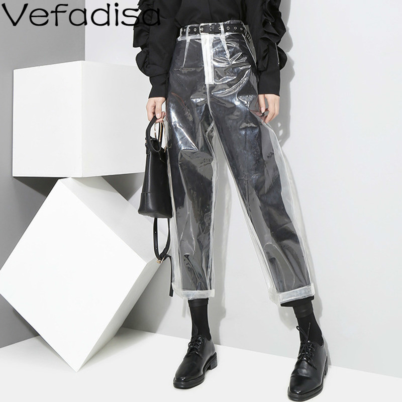 Vefadisa Spring Solid Casual High Waist Pants Zipper Transparent Harem Pants Loose Ankle-Length Pants Woman 2020 QYF456