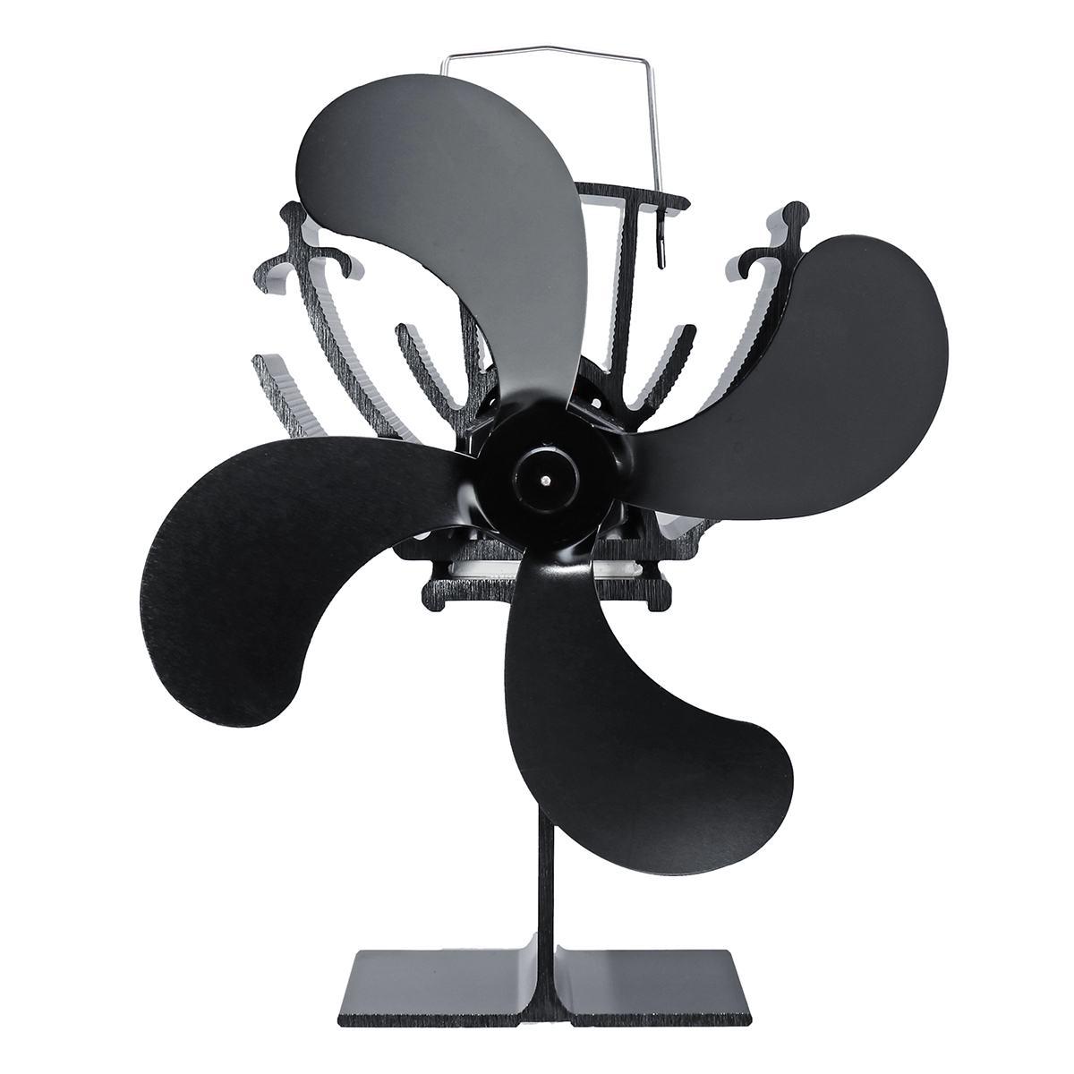 4  Heat Ed Stove Fan Log Wood Burner Ecological Fan Quiet Black Home Fireplace Fan Efficient Heat Distribution