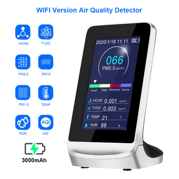Wifi Air Quality Detector Pm2.5 1.0 10 Gas Analyzer Monitor Formaldehyde Tvoc Hcho Pm 2.5 Co2 Sensor Meter Analyzer Tester 2020 digital air quality detector multifunctional co co2 hcho tvoc gas detector high accuracy monitor analyzer for home car factory