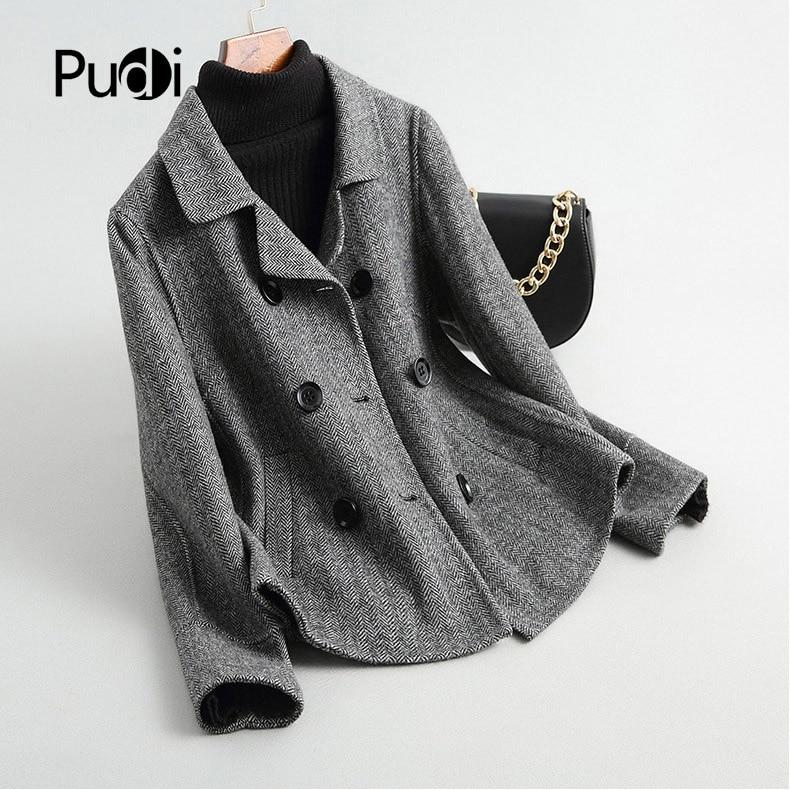 PUDI RO18052 2020 Women Fall Winter new short herringbone wool  jacket with pocket lady long style pocket leisure coat
