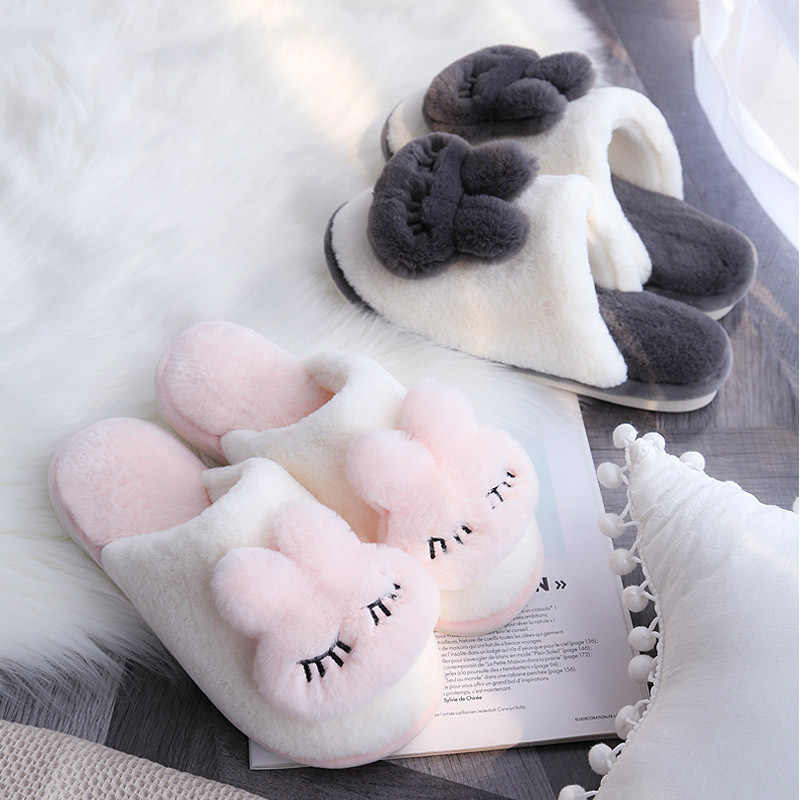 Lovely Cartoon Cotton Slipper Woman Winter Home Furnishing Household Indoor Non-slip Shoes Keep Warm Comfortable Slippers