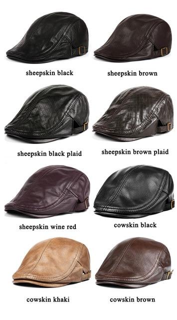 Hats Men Women Street Bonnet Genuine Leather Beret Male Thin Hats 55-61 cm Adjustable Forward Cap Leisure Duckbill Casquette 4