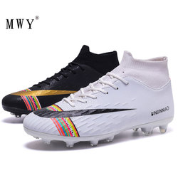 MWY Soccer Shoes Men Football Boots Shoes Futsal Soccer Cleats Teenager Ankle High Tops Kids Indoor Soccer Training Sneakers