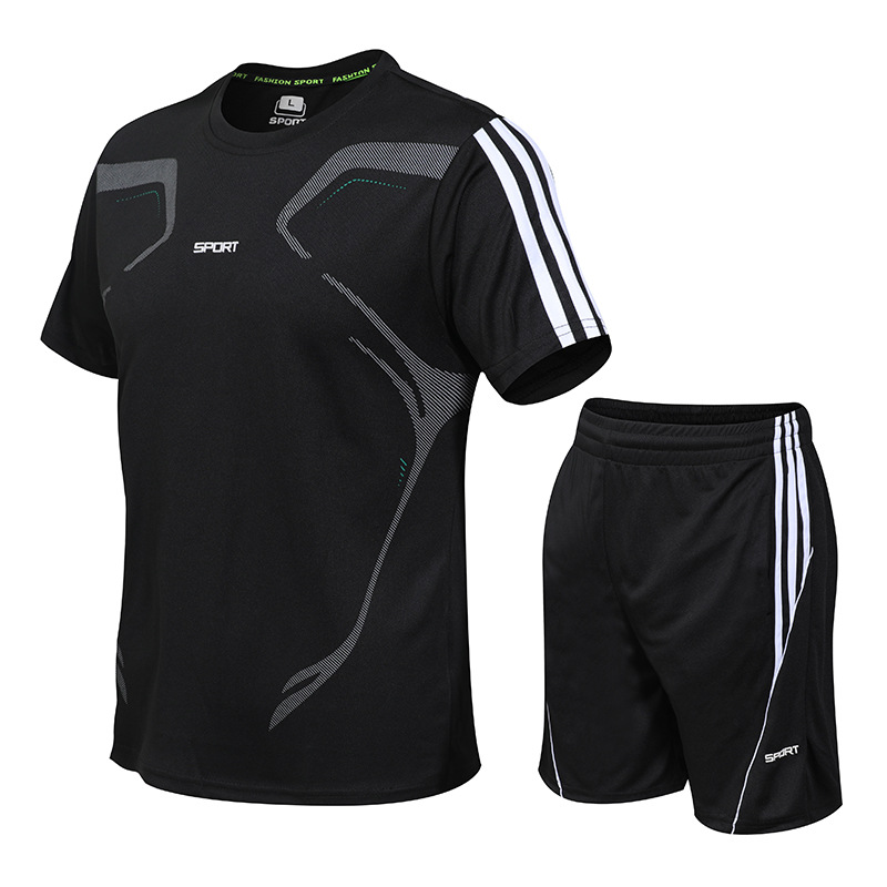 Sports Set Men's Summer Thin Running Fitness Breathable Short Sleeve Five 5 Shorts Quick-Dry T-shirt Sports Clothes