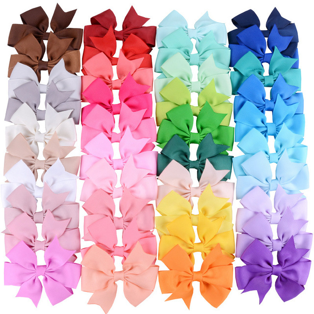Yundfly 20pcs/lot Grosgrain Ribbon Hair Bows with Clips Baby Girls Bow Hair Clip Hairpins Children Photo Props Hair Accessories