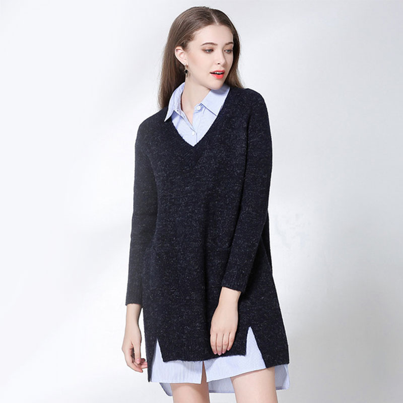 Pullover Maternity Knitwear Female Winter New Womens Hair Loose V-neck Long Sweater Sleeve Women Clothes