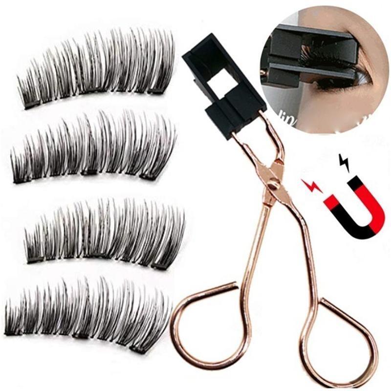 Cils magnétiques avec 5 aimants faits à la main réutilisables 3D vison faux cils pour le maquillage faux cils magnétique naturel pince à épiler