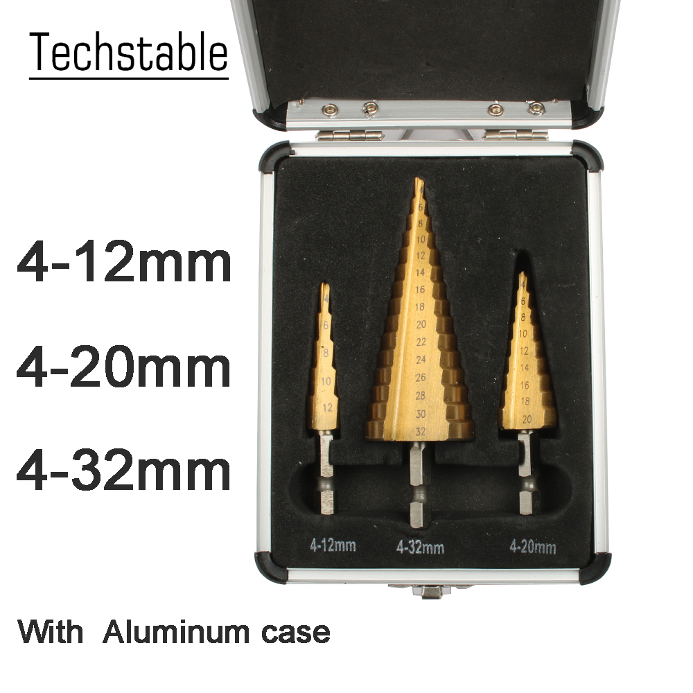 Hex Titanium Step Cone Drill Bit Hole Cutter 3-12 4-12 4-20 4-32mm HSS 4241 For Sheet Metal Steel Wood Metal With Case