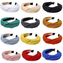 цена на Korean Women Ribbed Knit Striped Wide Headband Bright Solid Color Thicken Hair Hoop Twist Bowknot Center Makeup Party Headpiece