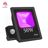 50W UV LED Black Light Floodlight IP66 Waterproof Ultra Viole Flood Light Stage Light for Halloween Party Curing PIR switch
