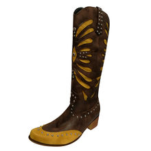 Vintage Leather Thigh High Boots Women's Square Head Low-heeled Western Rodeo Comfy Boots Yellow Slip-on Flats Shoes Plus Size(China)