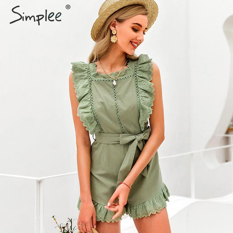 Simplee Elegant Ruffle Sleeveless Women Playsuit Hollow Out Sashes Female Jumpsuit Romper Holiday Summer Cotton Ladies Overalls