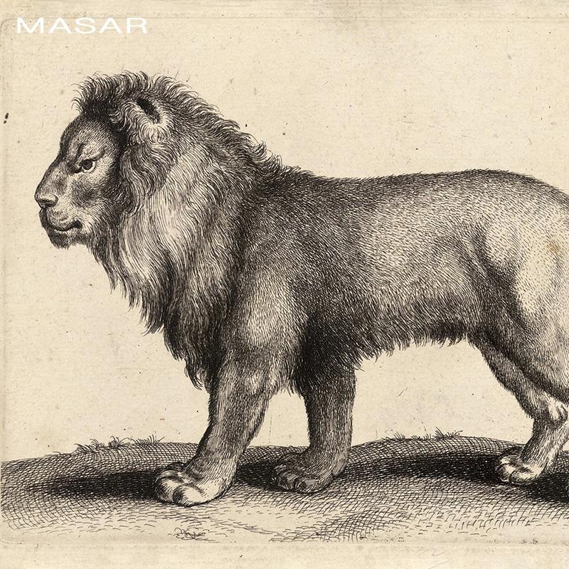 MASAR 3D HD animaux lion peintures murales, respectueux de l'environnement, papier peint étanche, salon, couloir papier peint roi - 4