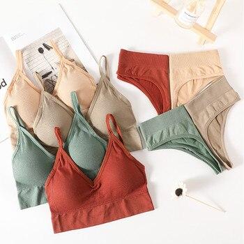 Women Bra Panties Set Push Up Sports Bra Set  G-String Seamless Active Bra Thong Lingerie Set Fitness Crop Top Underwear