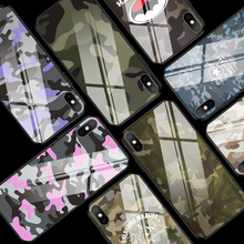 Army Green Camouflage Case For iPhone X XR XS Max 6 6S 7 8 Plus Tempered Glass Phone Back Cover Protective Coque