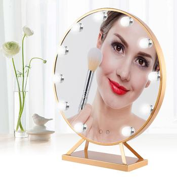 Makeup Mirror HD Cosmetic Mirror With 11 LED Bulbs Hollywood Golden Makeup Mirror Beauty lights for Lighting Cosmetic b