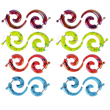 2pcs Punk Spiral Fake Gauges Acrylic Ear Tapers plugs Horn stud earring Faux Snail Cheater Stretcher Twist Piercing Body Jewelry