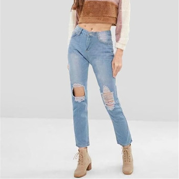Wish flat network hole jeans exports Europe and the United States Middle East Russia long red cultivate morality pants men s personality painted jeans on the streets of europe and the united states men s pierced straight tube distressed jeans