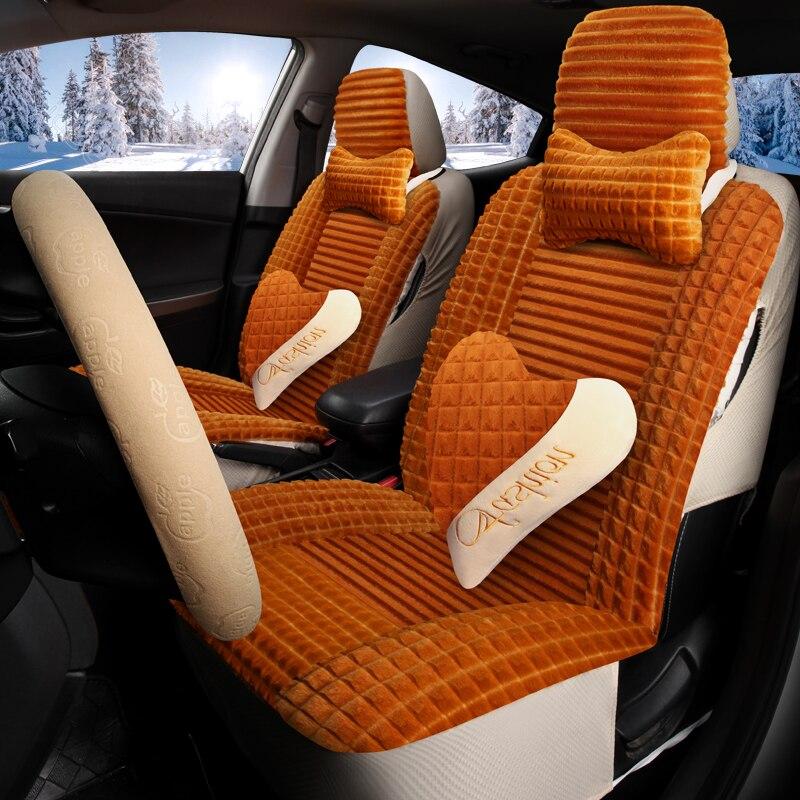 Couverture de sièges Auto hiver couverture complète housse de siège de voiture en peluche pour hummer h2 creta ix25 elantra i30 i40 ix35 kona santa fe solaris - 3