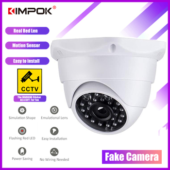 цена на KIMPOK Fake Security Camera CCTV Dummy Fake Surveillance CCTV Security Dome Camera with Red LED Light Flashing