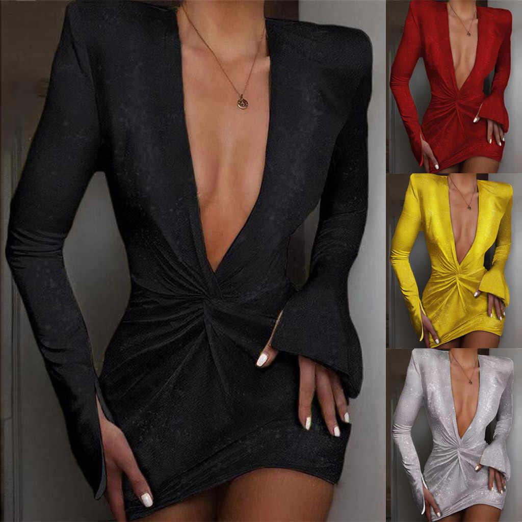 Sexy kobiety z długim rękawem głęboki dekolt w serek koktajlowa, balowa suknia dopasowana sukienka платье женское платья женские ropa mujer vestidos de verano