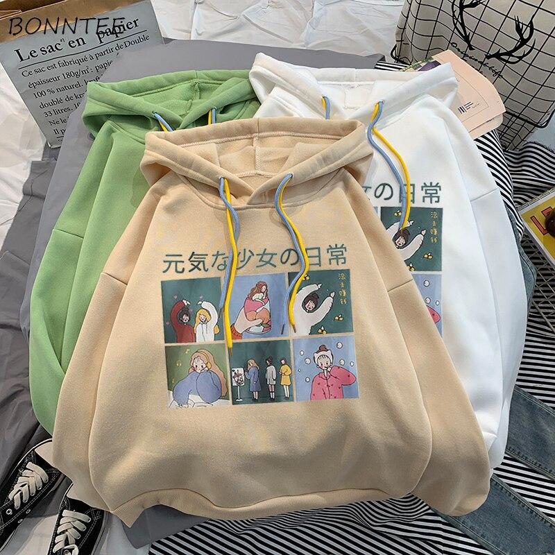 Hoodies Women Printed Korean Style Hooded Plus Velvet All-match Coats Womens Kawaii Student Streetwear Loose Long Sleeve Clothes