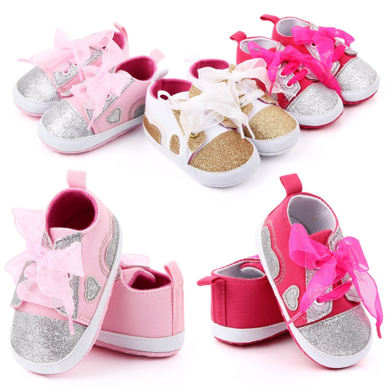 Baby Girls Sneakers Casual Breathable Anti-Slip Sequins Ribbon Heart Printed Comfortable Soft Soled Sneakers