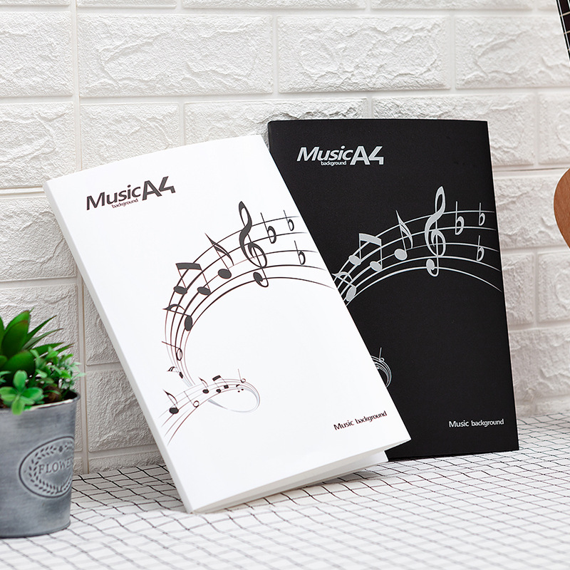 6 Sheets Music Folder Filing Products Office School Stationery Gift Musical Notation Paper Clip Holder Piano Score Book Document