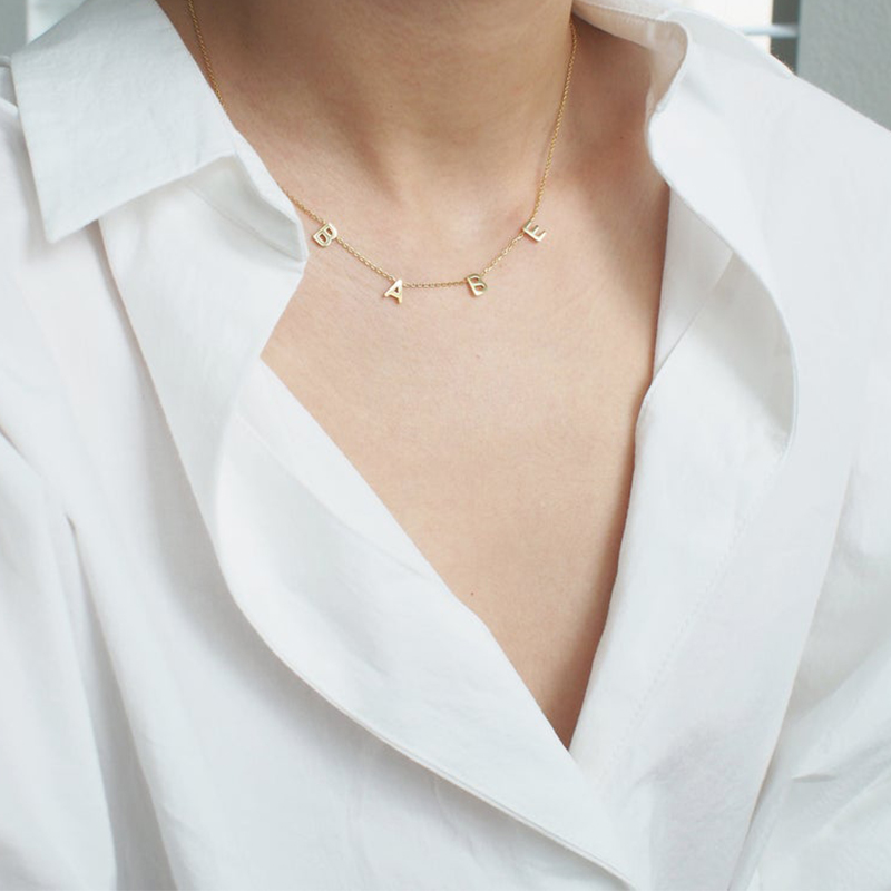 HIYONG Hot Sell Custom Name Personalized Necklace Women Fashion Stainless Steel Pendant Signature Customized Jewelry Best Gifts in Choker Necklaces from Jewelry Accessories