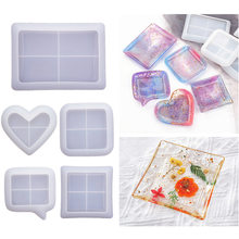 Square Heart Shape Coaster Silicone Mold DIY Crystal Epoxy Resin Dish Tray Mould Handmade Crafts Home Decoration Jewelry Making
