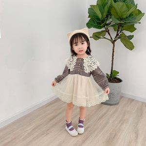 Image 2 - 2019 Autumn New Arrival Korean style cotton plaid matching princess long sleeve dress with lace collar for cute sweet baby girls