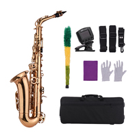 Eb Alto Saxophone Sax Brass Material Wind Instrument with Carry Case Gloves Cleaning Cloth Sax Straps Tuner