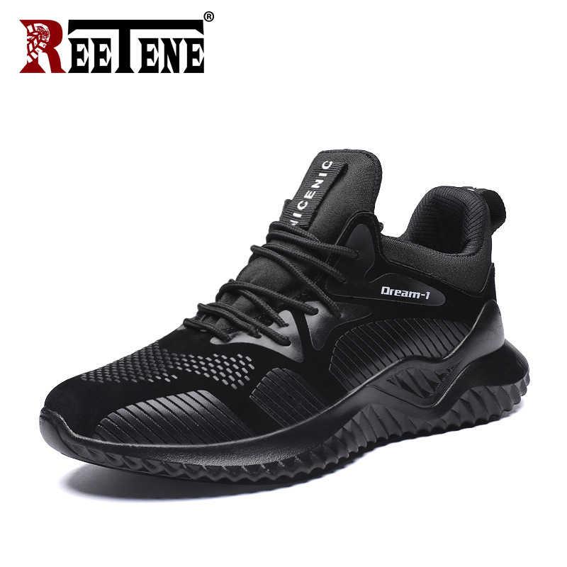 REETENE 2020 yeni kaymaz örgü erkek ayakkabısı Casual Streetwear Sneakers erkekler Mesh Sneakers hafif nefes koşu ayakkabıları