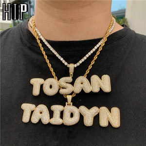 Hip Hop Custom Name Zircon Iced Out Bubble Letters Chain Pendants&Necklaces For Men Jewelry With Gold Cuban Tennis Chain