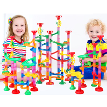 лучшая цена 109 PCS DIY Construction children's puzzle Race Run Maze Balls Track Building Children Gift For Baby Educational Toys