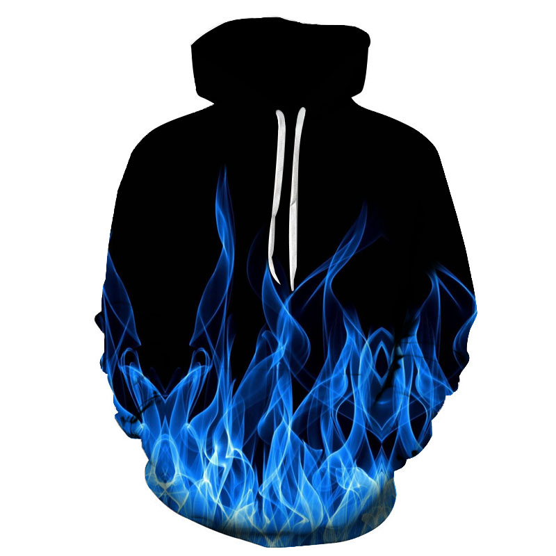 Flame pattern men's 3D printing hoodeds sweatshirt creative holiday fashion hoodie autumn and winter fashion hooded pullover