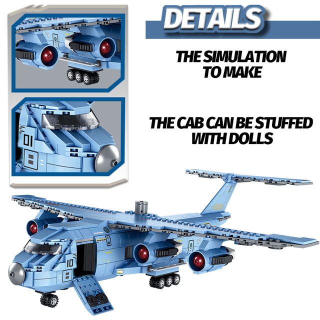 1083PCS SWAT Team Transport Aircraft Building Blocks Military Airplane City Police Figures Bricks Educational Toys for Children