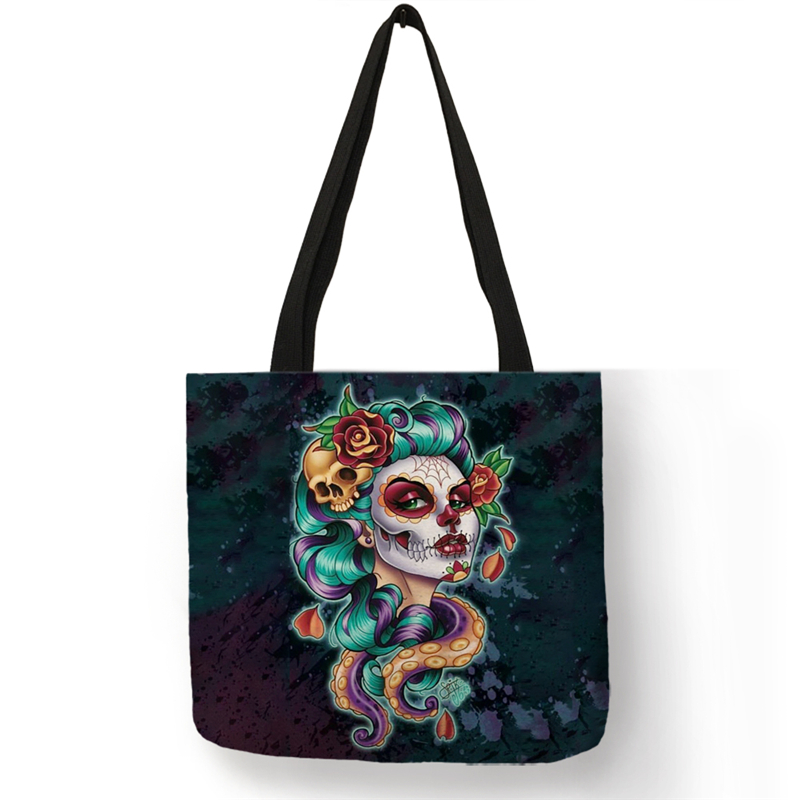 B01104 Day Of The Dead Floral Skull Print Tote Bag Handbags For Women Halloween Sugar Skull Girl Shopping Bags Large Capacity