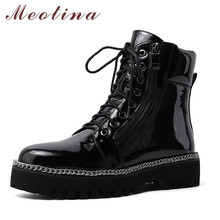 Meotina Ankle Boots Women Shoes Chain Platform Mid Heel Short Boots Round Toe Block Heels Zip Lace Up Boots Lady Winter Size 44 chain design block heeled ankle boots
