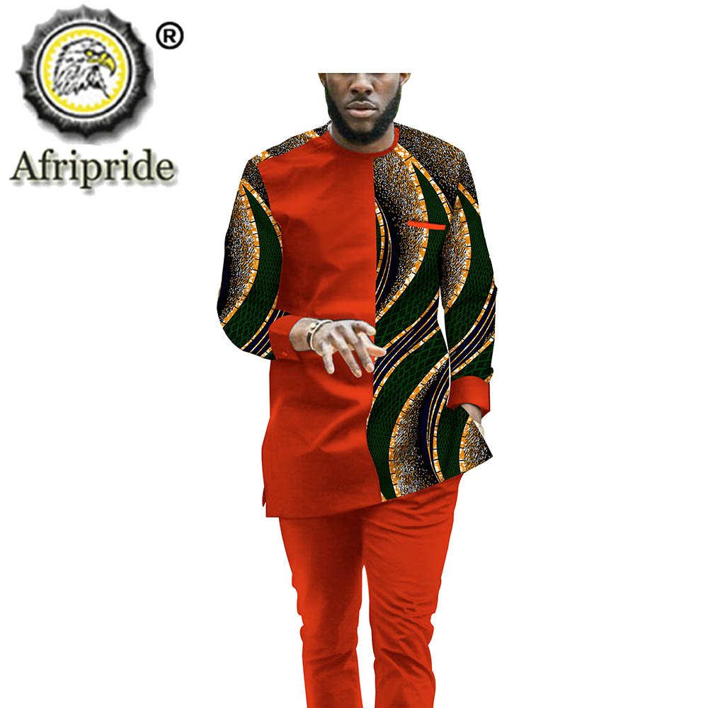 African Clothing Set for Men Tracksuit Dashiki Tribal Outfits Print Shirt and Ankara Pants 2 Piece Suit Wax AFRIPRIDE S2016008