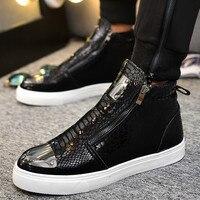 Sneakers Men High Top Microfiber Platform Shoes Brand Fashion Printmens Shoes Black PU Hot Footwear Male Vulcanize Shoes D5 17