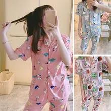 Summer Pajamas Home-Clothes Pants Suit Short-Sleeve Milk-Silk Two-Piece Korean Cartoon