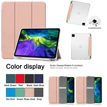 For iPad Pro 11 2020 Case with Pencil Holder Full Cover Case Foldable TPU Flip Stand Tablet Cover For iPad Pro 11 Inch
