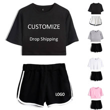 Drop Shipping Kpop Printed Women Sets New Album Oversize Short Sleeve and Short Pants Summer Two Piece Set Women Outfits Y6(China)