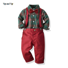 Top and Top Toddler Boys Clothing Set Autumn Winter Children Formal Shirt Tops+Suspender Pants 2PCS Suit Kids Christmas Outfits